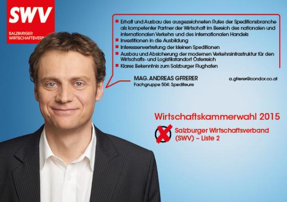 Mag. Andreas Gfrerer - Fachgruppe 504: Spediteure